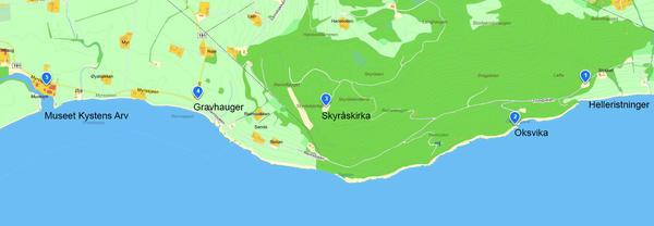 Kart over Stadsbygd med severdigheter. Copyright: Museet Kystens Arv