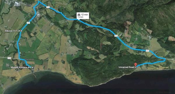 Kart med bilrute fra museet til helleristningene. Copyright: Museet Kystens Arv