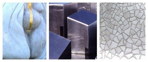 Detaljer från tre av Konstparkens skulpturer.