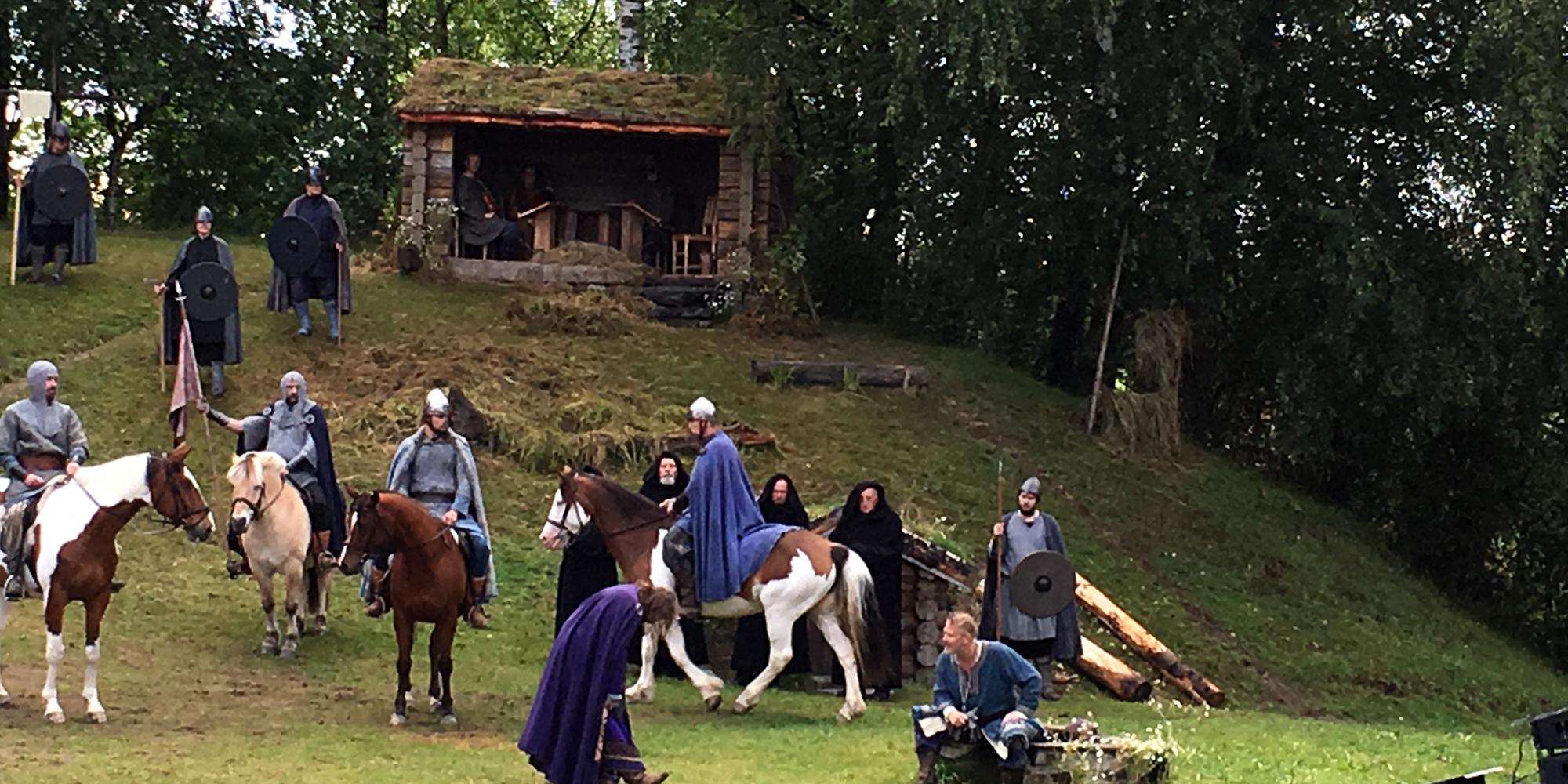 Scene fra Spelet om Heilag Olav 2016, 4 forestillinger hvert år under Olsokfestivalen i slutten av juli. Copyright: Visit Innnherred