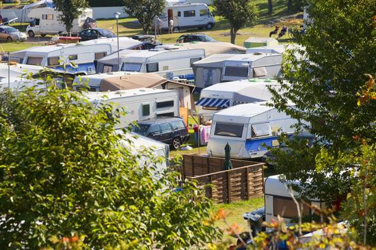 Husvagnar på Åsa Camping
