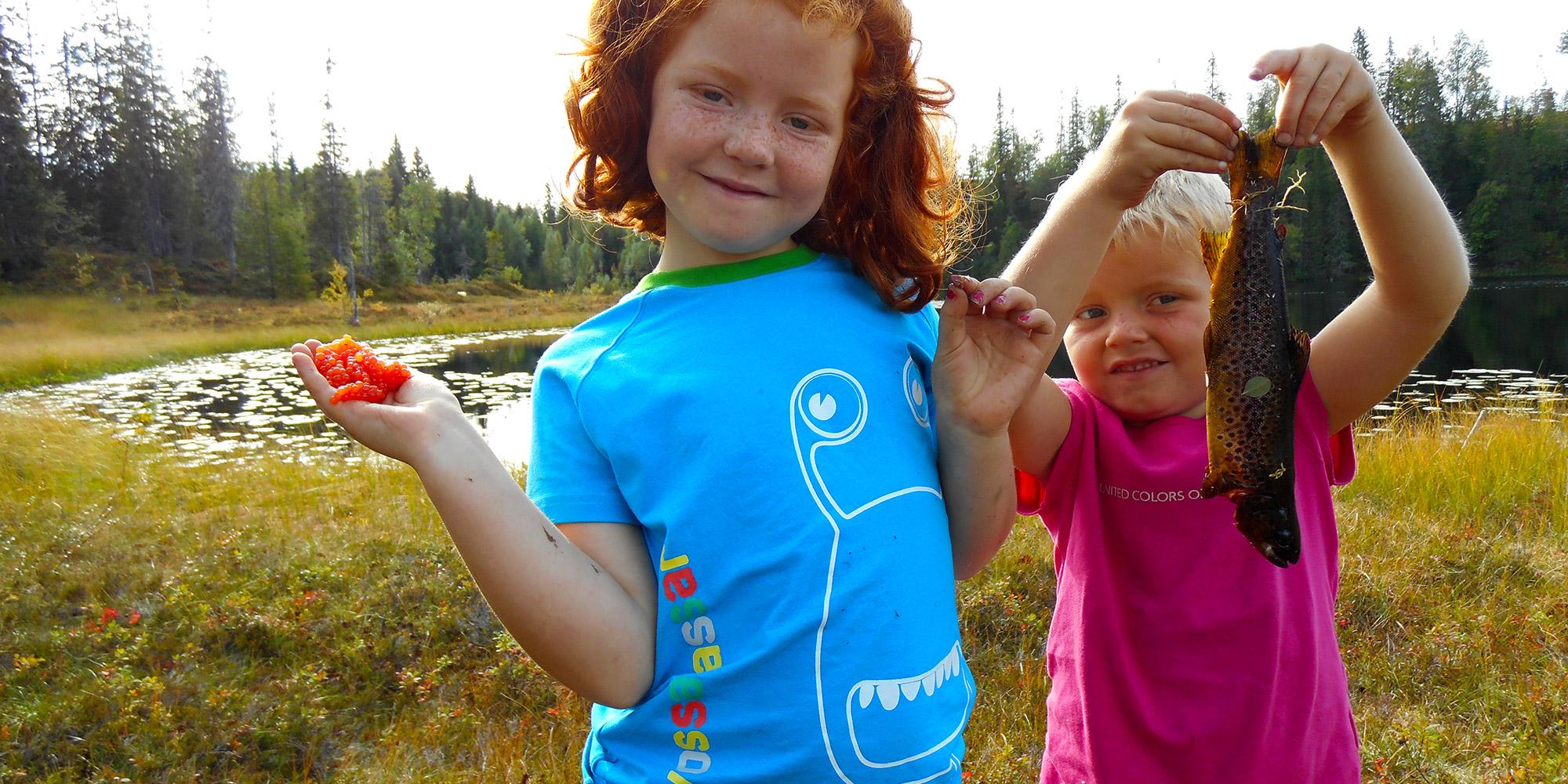 Barn fisker og plukker bær. Setra Reinsjølian i Snåsafjellet, med vakker utsikt over Blåfjella-Skjækerfjella nasjonalpark. Copyright: Belbu