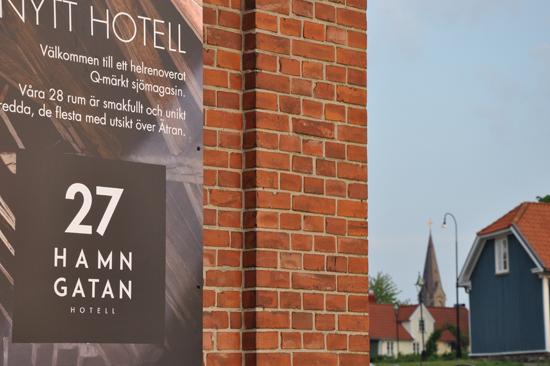 Hamngatan 27 i Falkenberg, hotell med 28 rum beläget i det gamla sjömagasinet vid ån Ätran