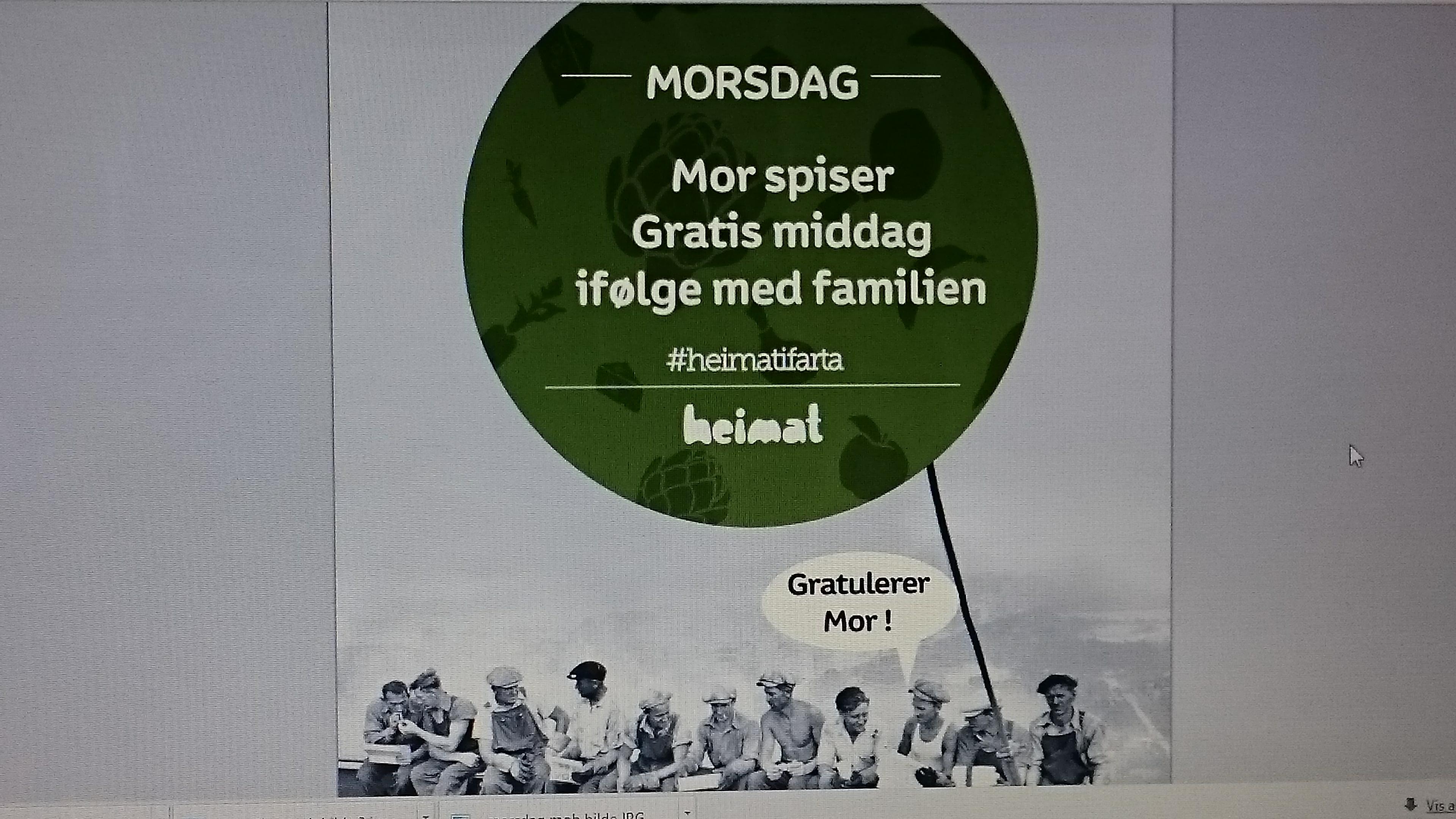 På morsdag spiser mor Gratis middag i følge med familien hos Heimat. , © Heimat
