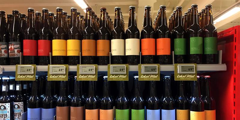 Inderøy Gårdsbryggeri, along the golden road- the beer i sold i the local shops in Inderøy. Copyright: Inderøy Gårdsbryggeri