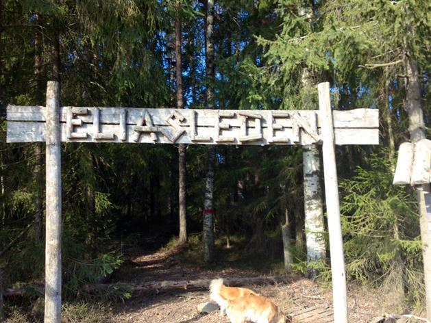 Skylt vid start Eliasleden, SE