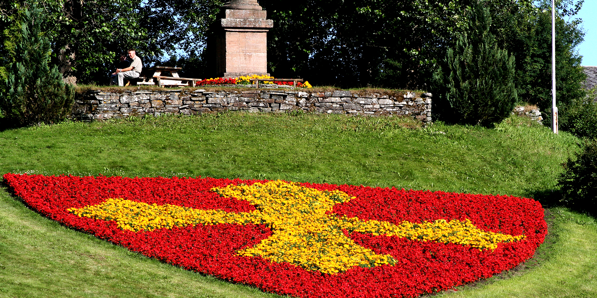 Stiklestad Nasjonale Kultursenter - kommunevåpen i blomster. Copyright: Stiklestad Nasjonale Kultursenter
