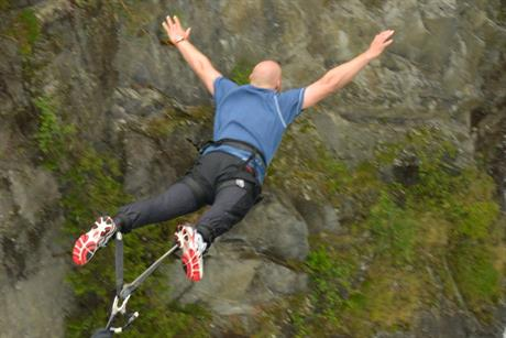 Norway's thoughest bungee jump at the suspension bridge at Vemork , © Nancy Bundt