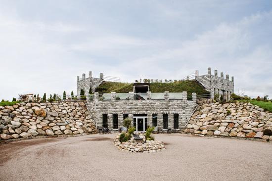Ästad Vingårds nya byggnad smälter in i den omgivande naturen och inrymmer konferenslokaler, vinbar och vineri.