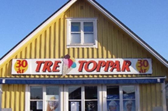 Tre Toppar är ett populärt glasscafé i Träslövsläge, söder om Varberg