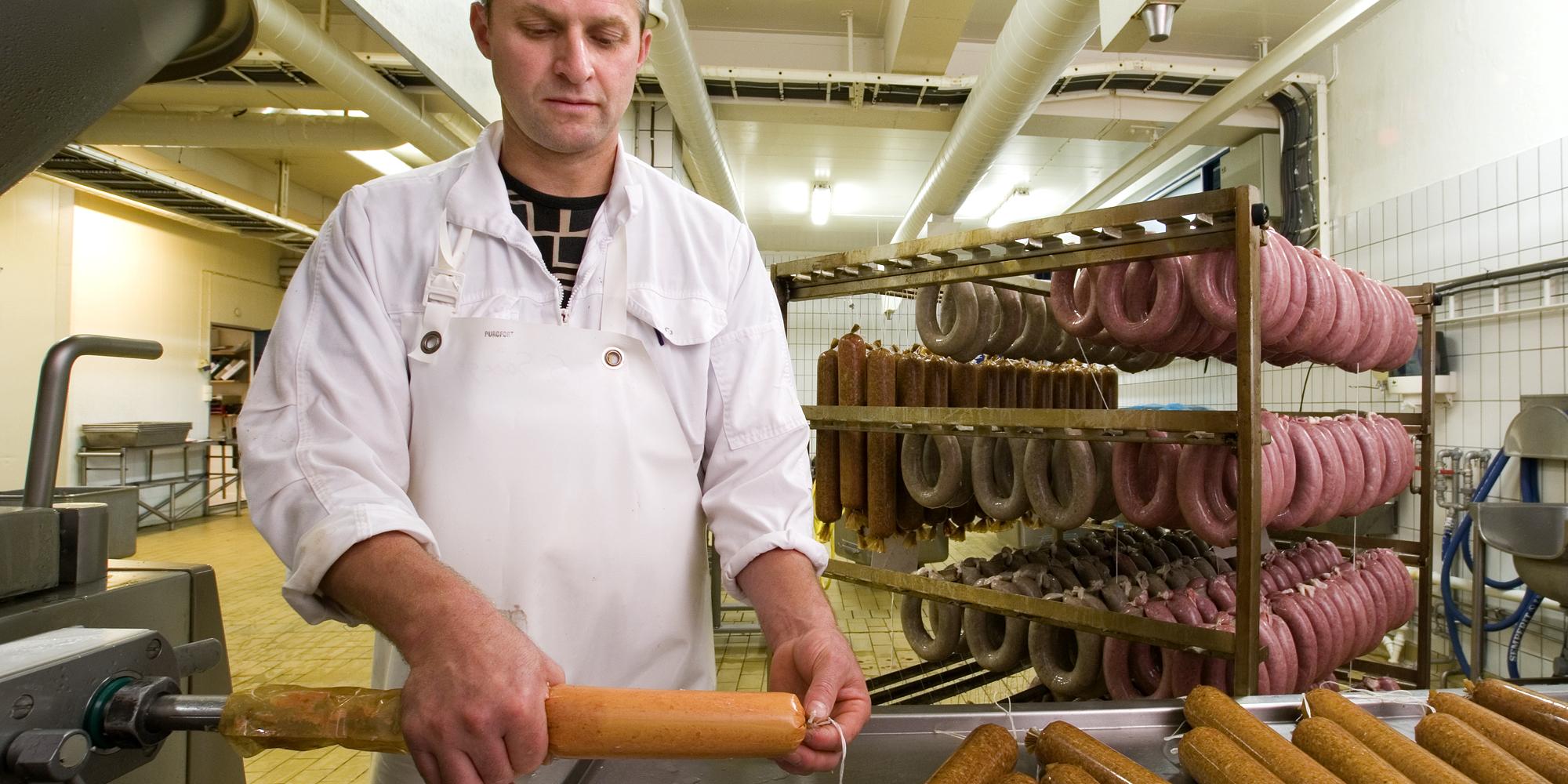Inderøy butchery shop pølseproduksjon. Copyright: Inderøy Slakteri