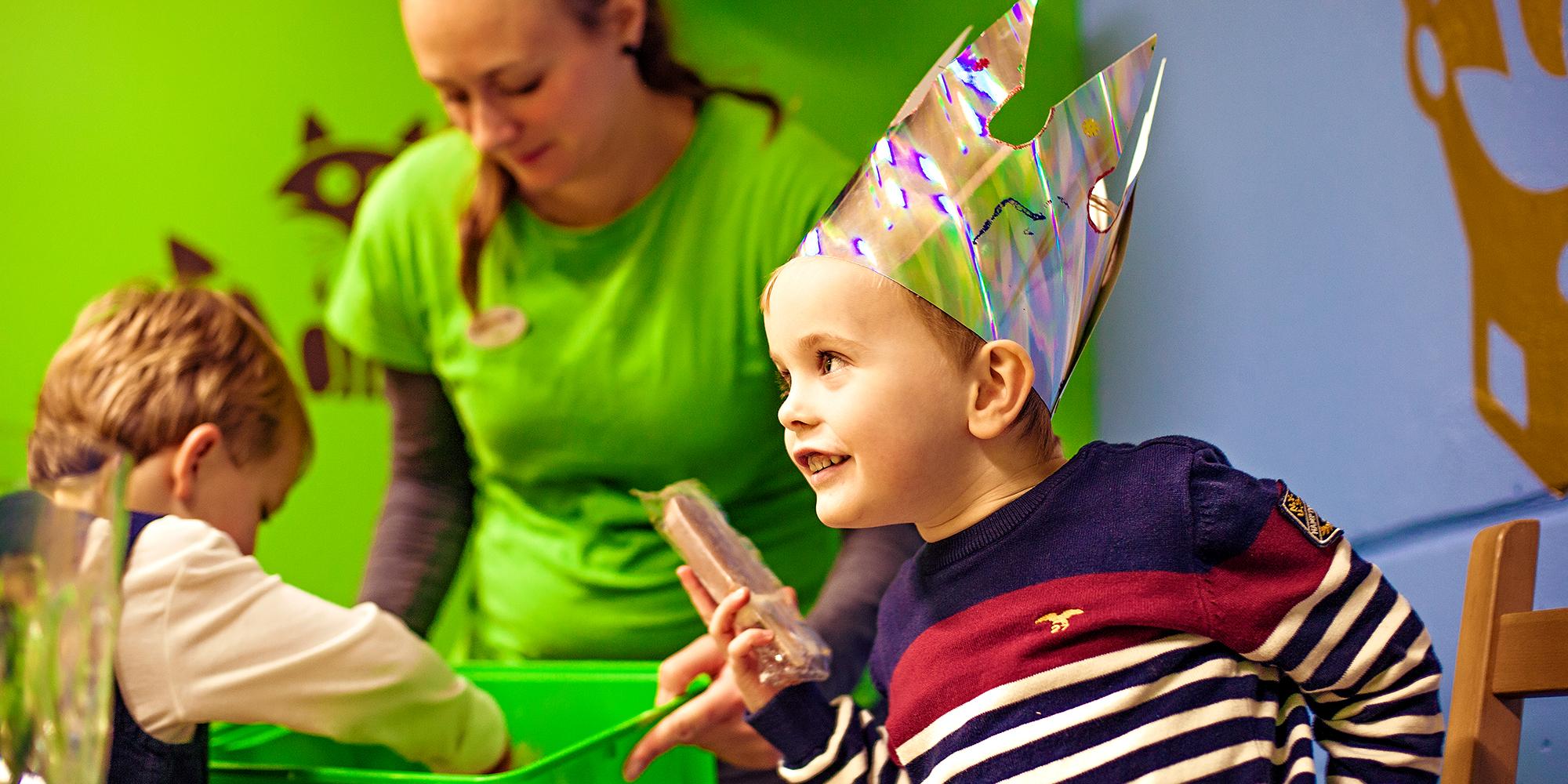 Lykkeland, a play centre in Steinkjer - boy celebrating his birthday. Copyright: Lykkeland