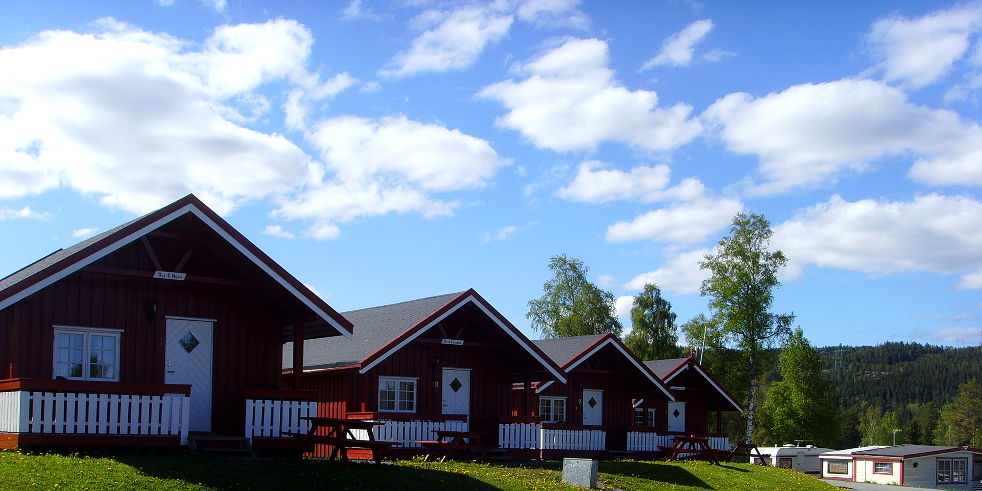 Cabins 1-5 at Føllingstua Camping. Copyright: Føllingstua
