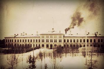 En bild av det gamla mentalsjukhuset som det såg ut på trettiotalet.