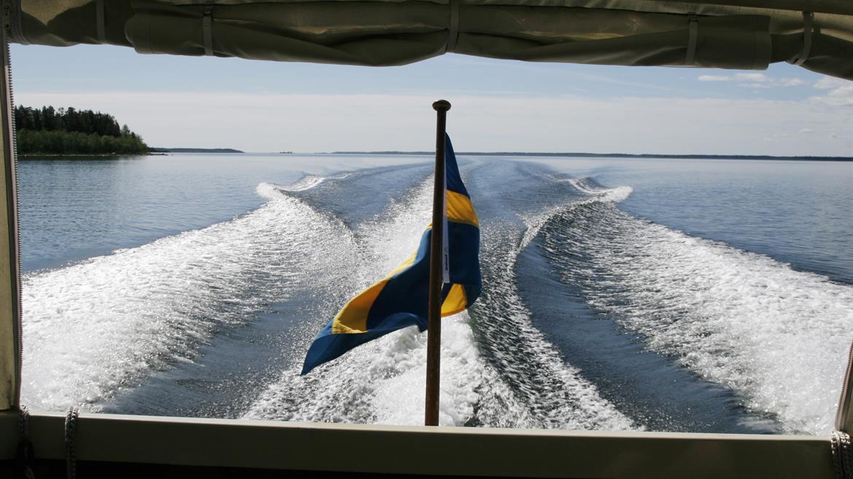 Utsikt bakom båt