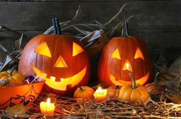 Halloween pumpor med ljus