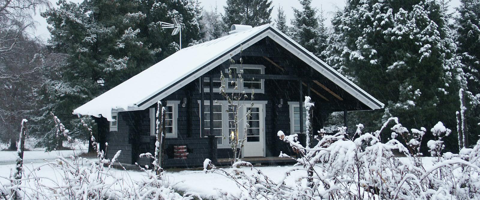 Björkbacken stuga i vinterskrud.