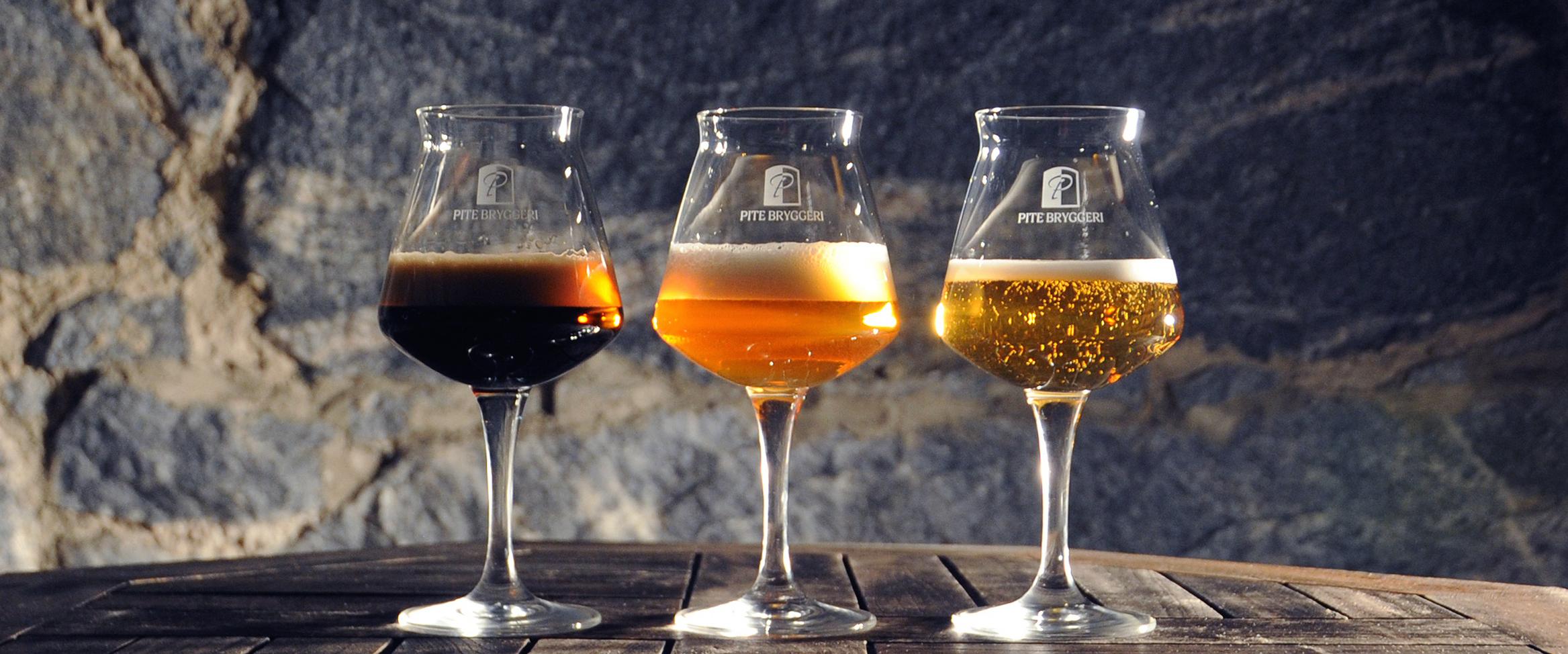 Tre olika sorters öl att prova hos Pite Bryggeri