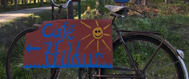 Café Hildur skylt på cykel, Café Hildur