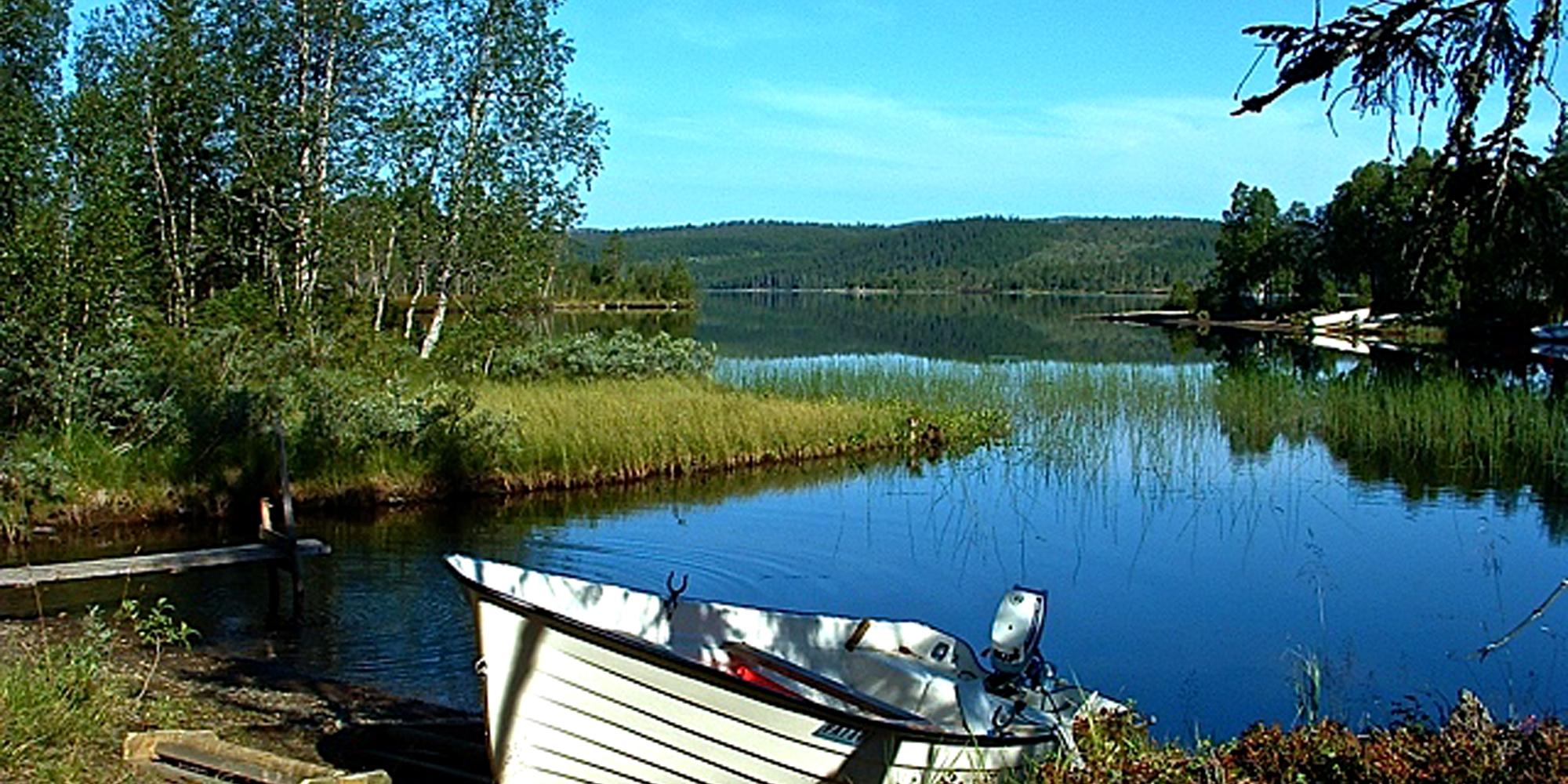 Steinkjer Kommuneskoger - a row boat docked at the border of a lake. Copyright: Steinkjer Kommuneskoger - Ogndalsbruket KF