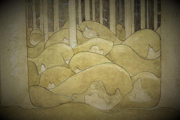 Utsnitt av granskog från målning av John Bauer., John Bauer