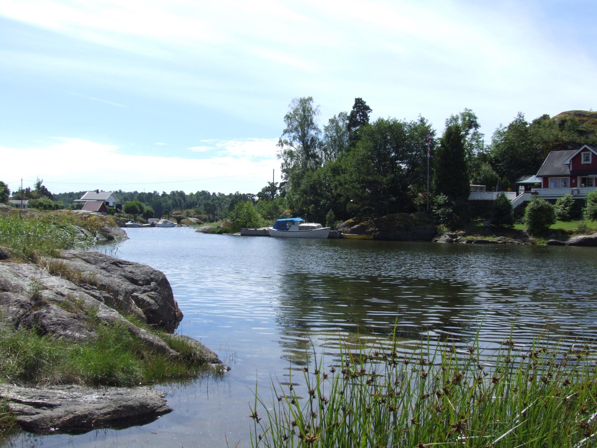 Utsikt mot Løvøya, fra Sandøya.