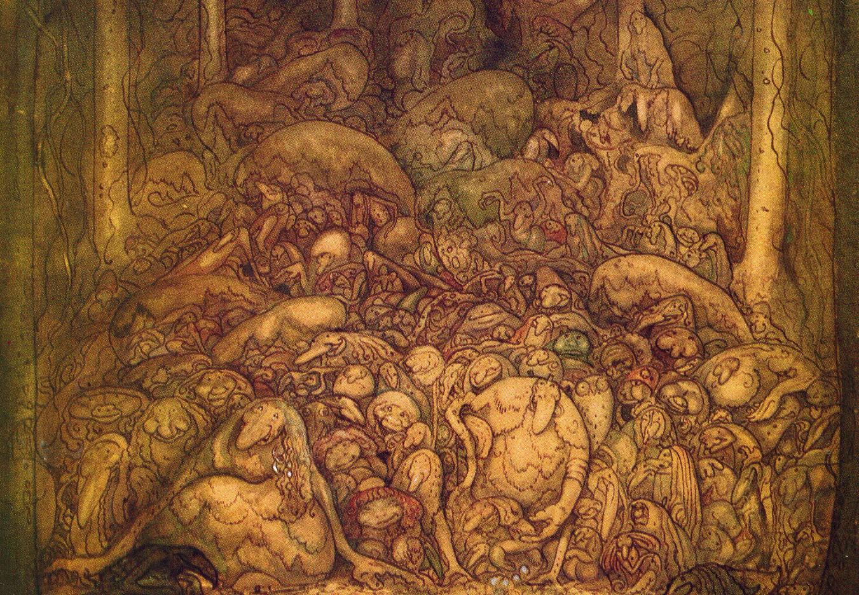 Utsnitt av målning av J Bauer: skog full av troll.