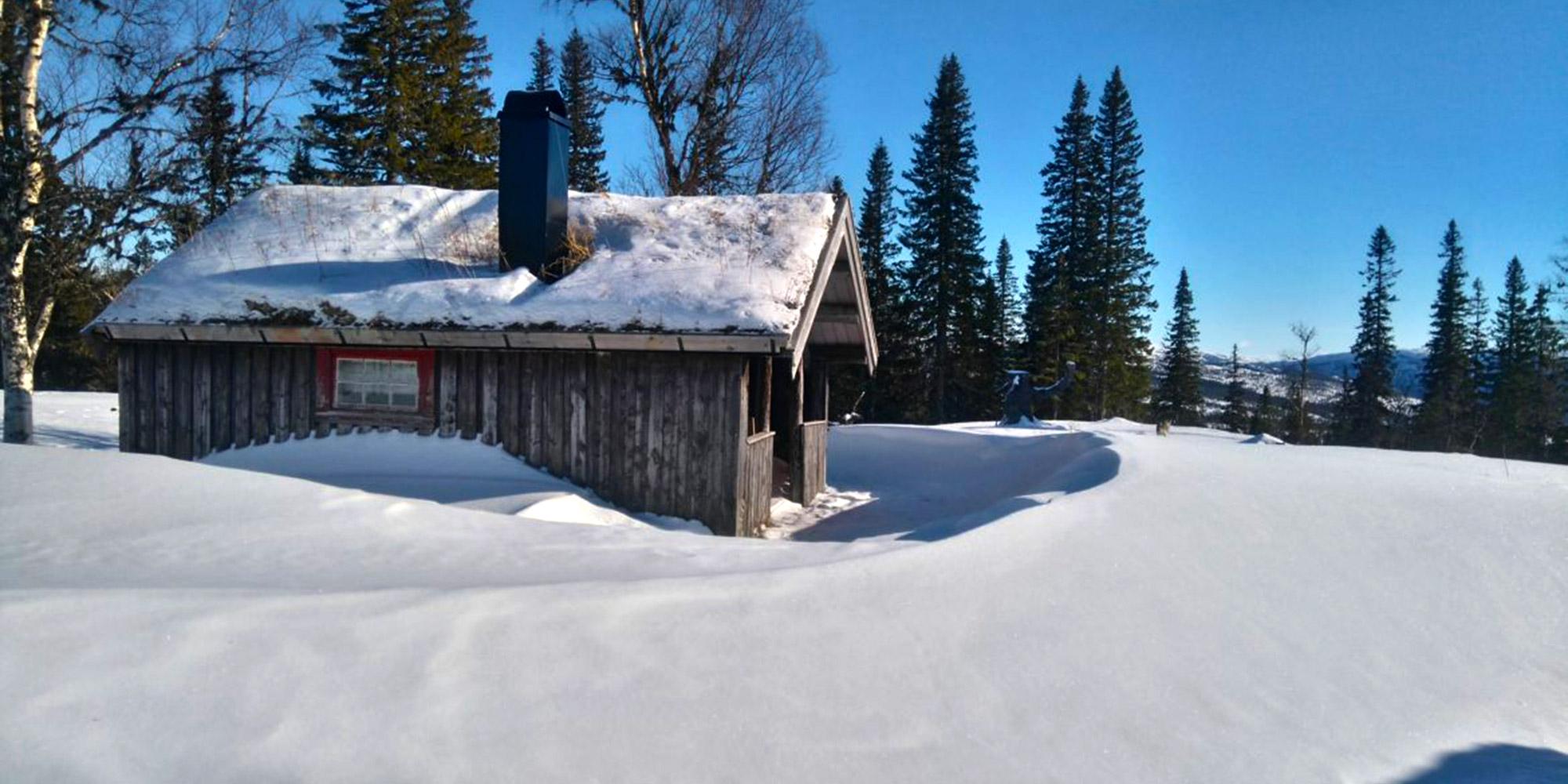 Setra Reinsjølian i Snåsafjellet, med vakker utsikt over Blåfjella-Skjækerfjella nasjonalpark. Copyright: Belbu