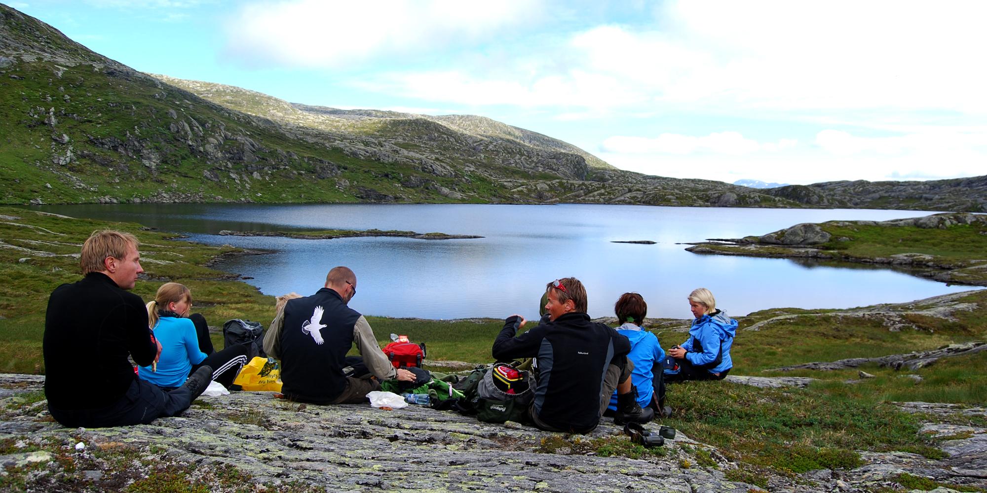 Steinkjer Kommuneskoger - a crowd sitting by Hattjønna . Copyright: Steinkjer Kommuneskoger - Ogndalsbruket KF