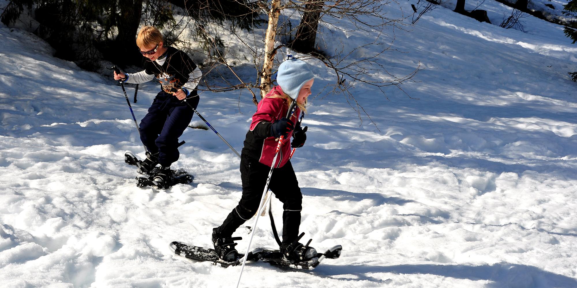 Mokk farm - 2 kids snow shoeing. Copyright: Mokk gård