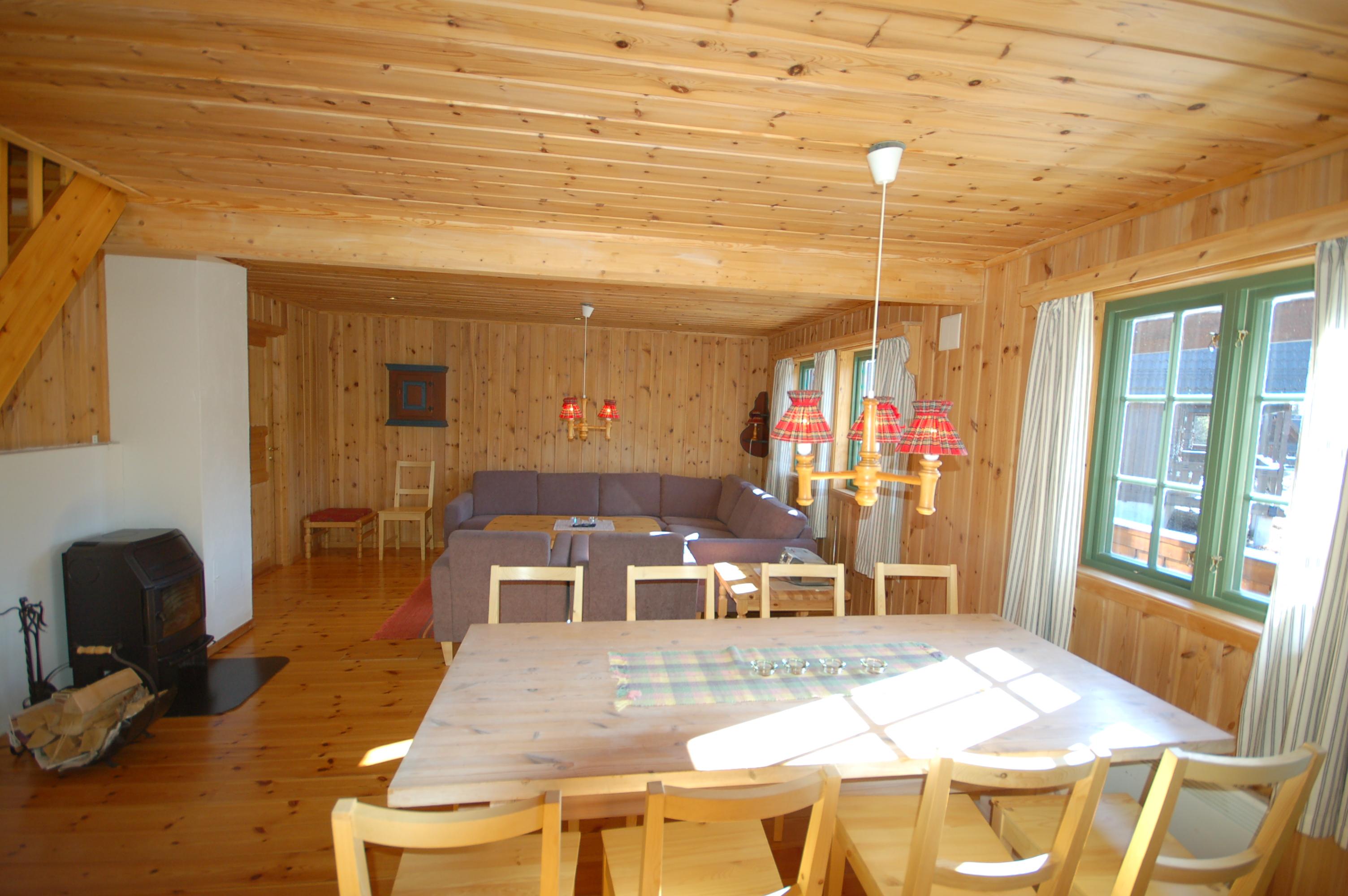 Hyttene til Kvitåvatn Fjellhytter har stor stue med TV med kabel tv. , © Marianne Folmer