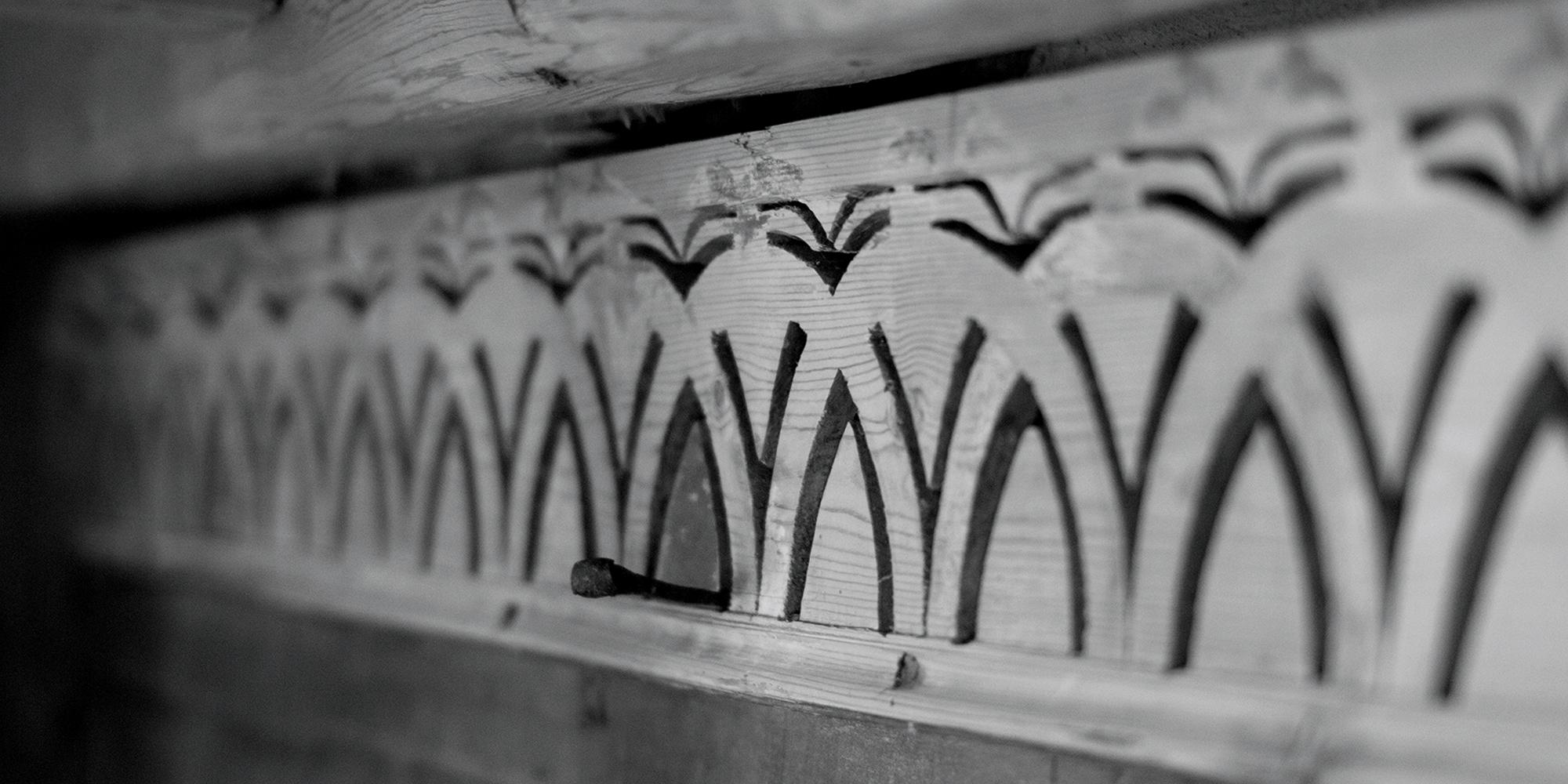 Hustad church - interior details. Copyright: Rfoto