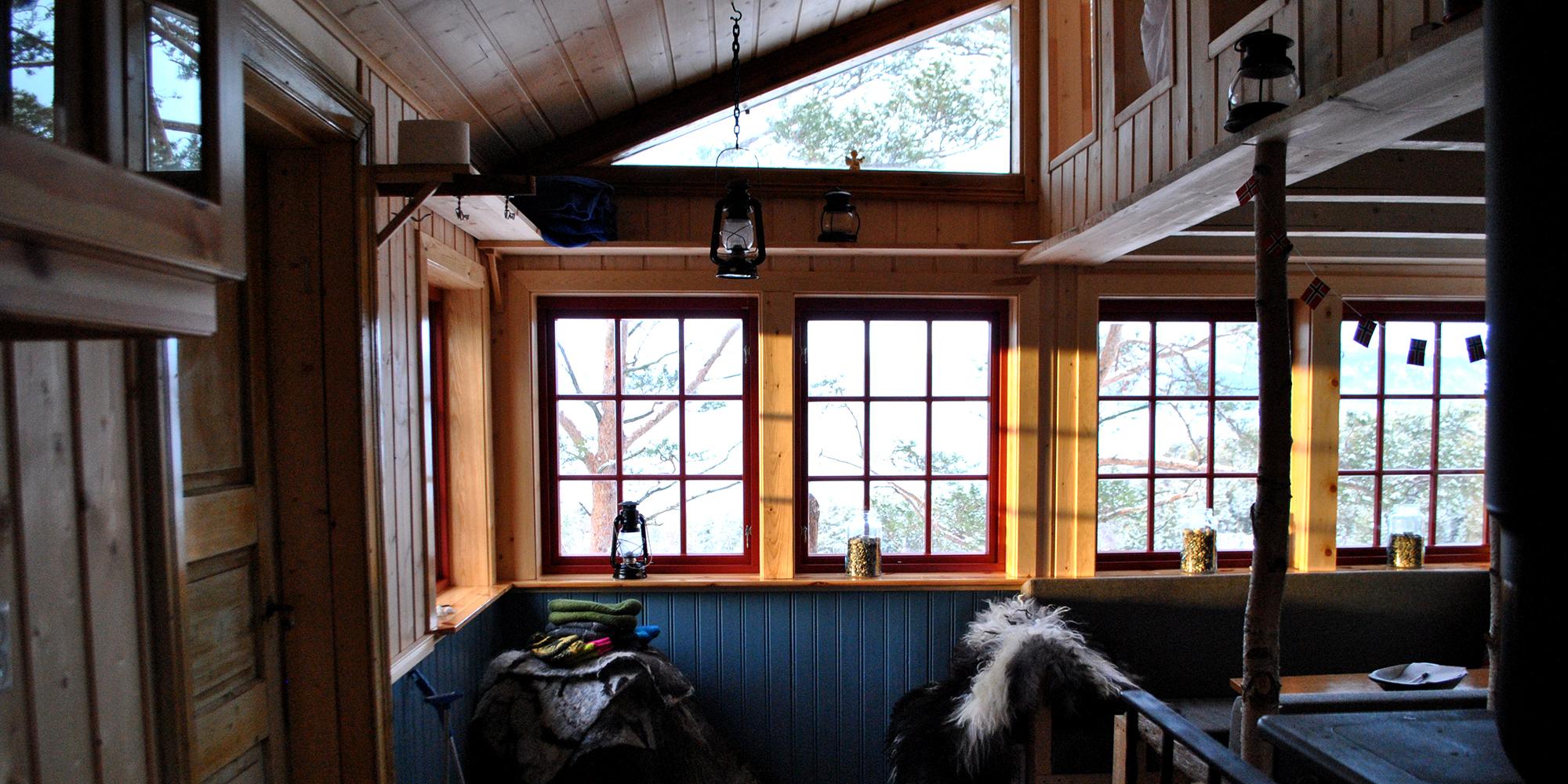 The interior of Spettspiret cabin at Letnes Farm in Inderøy. Copyright: Letnes Gård