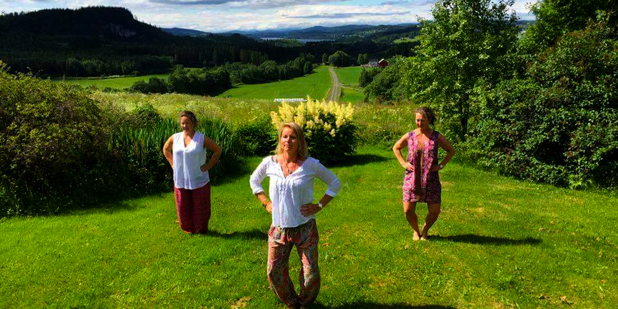 Troset in Levanger Municipality: Qigong in the garden . Copyright: Heidi Troset