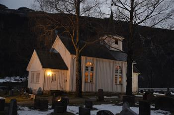 Religious service at Mæl Church