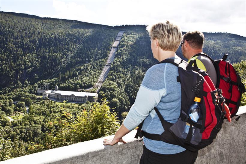 Utsikt mot Vemork fra Sabotørstien, © Fotograf Jacobsen
