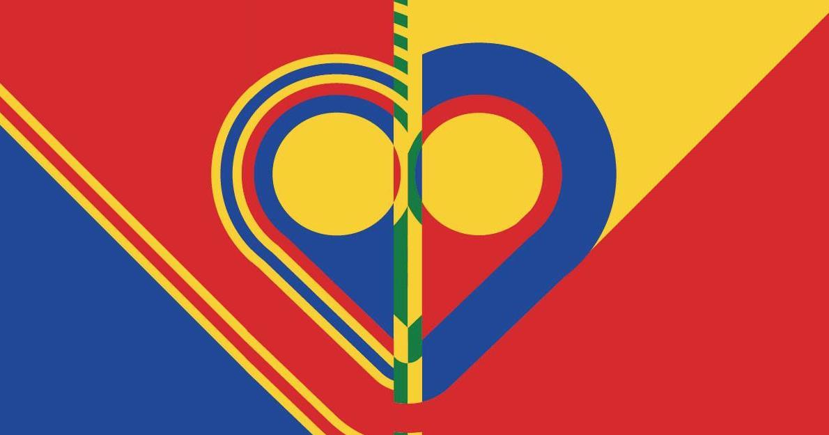 bilde med farger rødt, gult og blått, © Telemark Kunstsenter