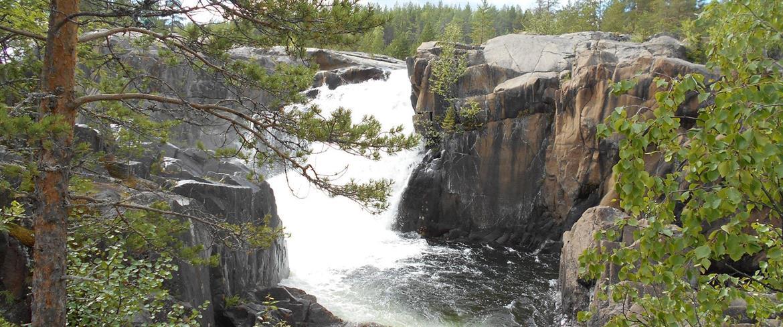 Storforsen water between the rocks