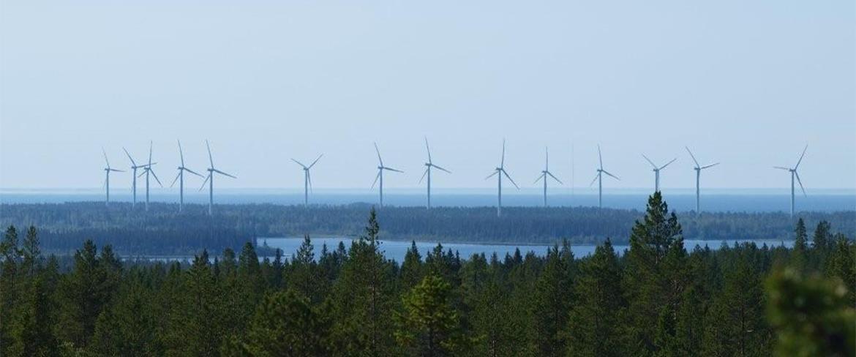 Utsikt över vindsnurror från Degerberget PIteå