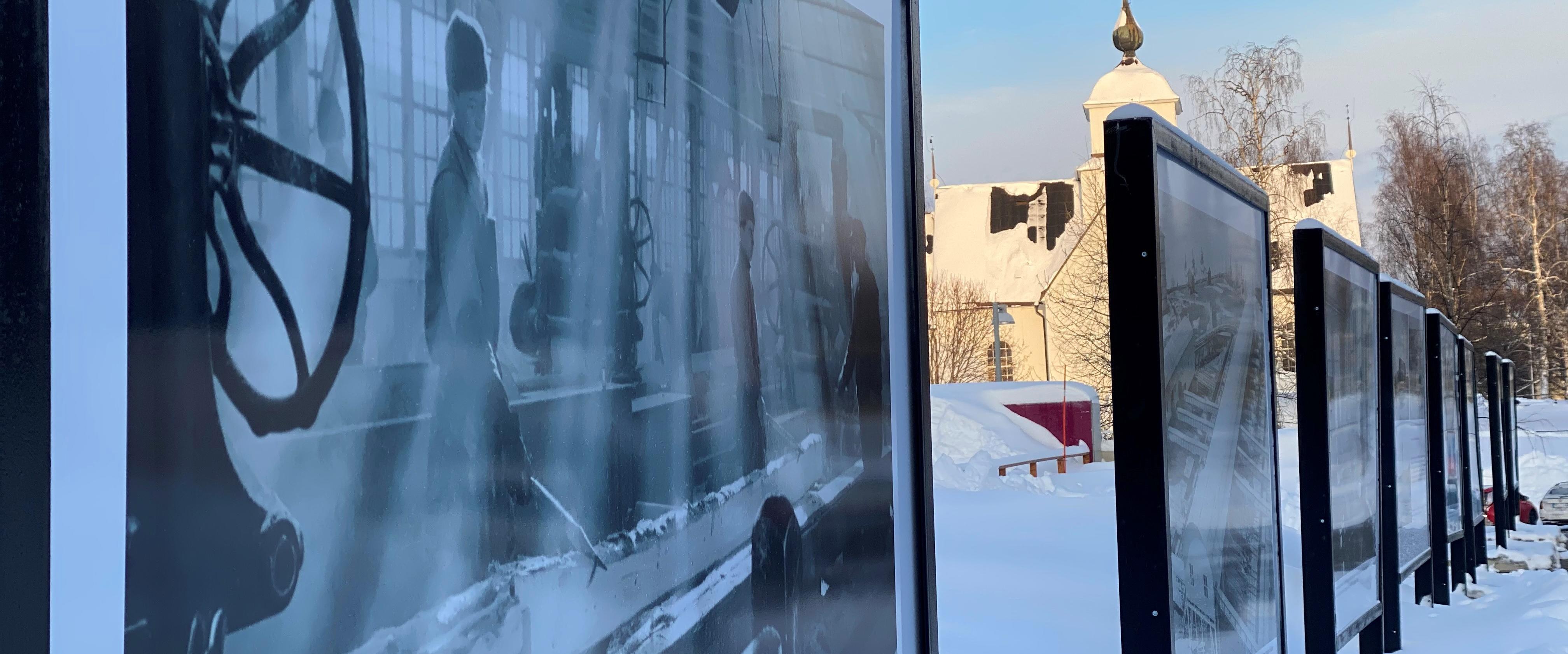Utställningsskyltarna på Vinterdäcket i Piteå