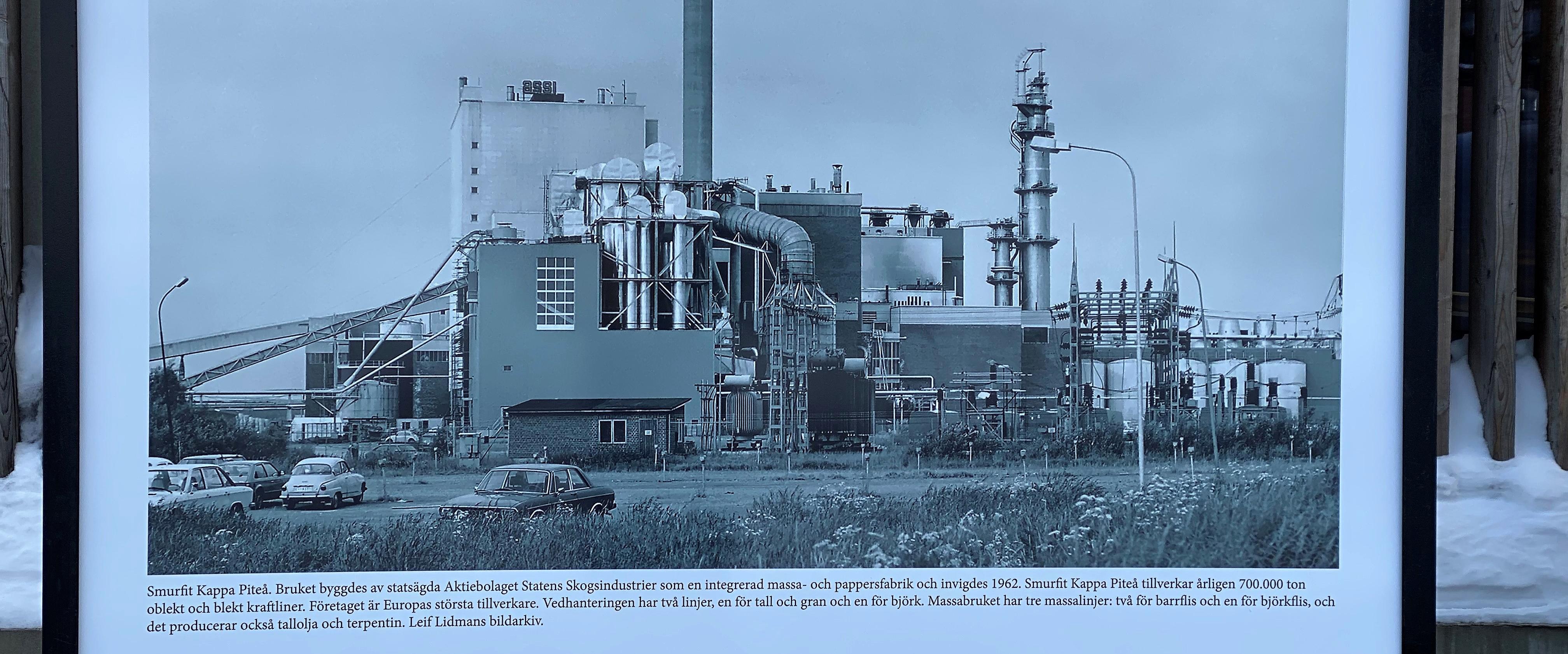 En av bilderna från utställningen om Piteås industrihistoria som finns på Vinterdäcket.