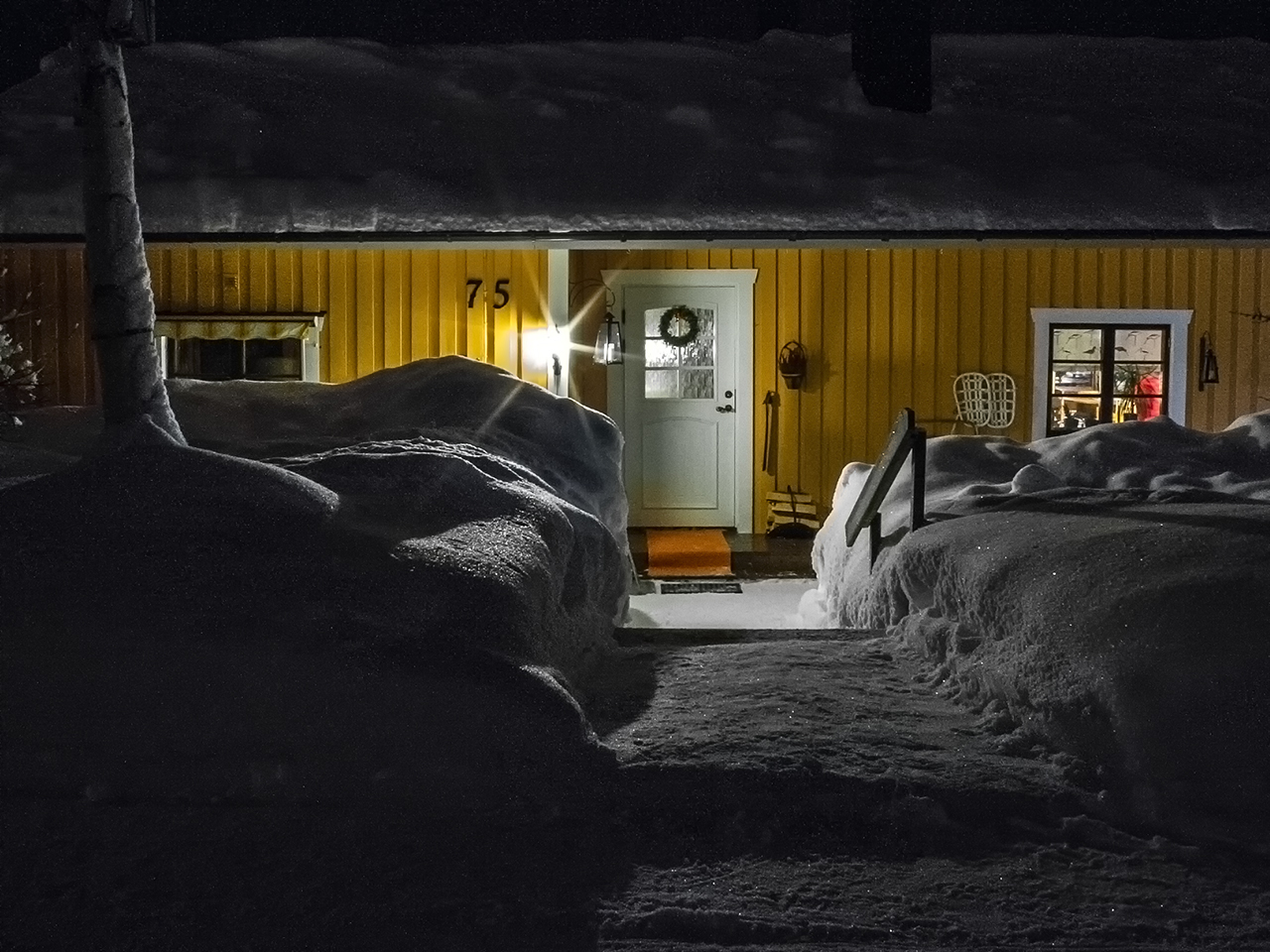 Yellow cabin winter