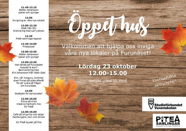 Affisch för öppet hus 23 oktober