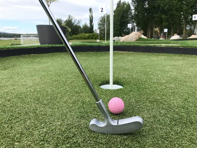 Golfklubba och boll mot ett hål