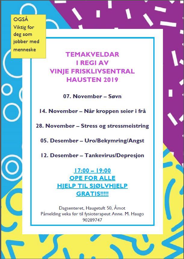 Temakveld i regi av Vinje Frisklivsentral - Vest-Telemark.no