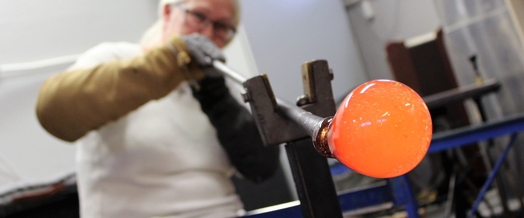 Glass-blowing for window decorations.