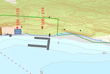 Gjestehavn på Langøya med dydemeter ca 5 meter