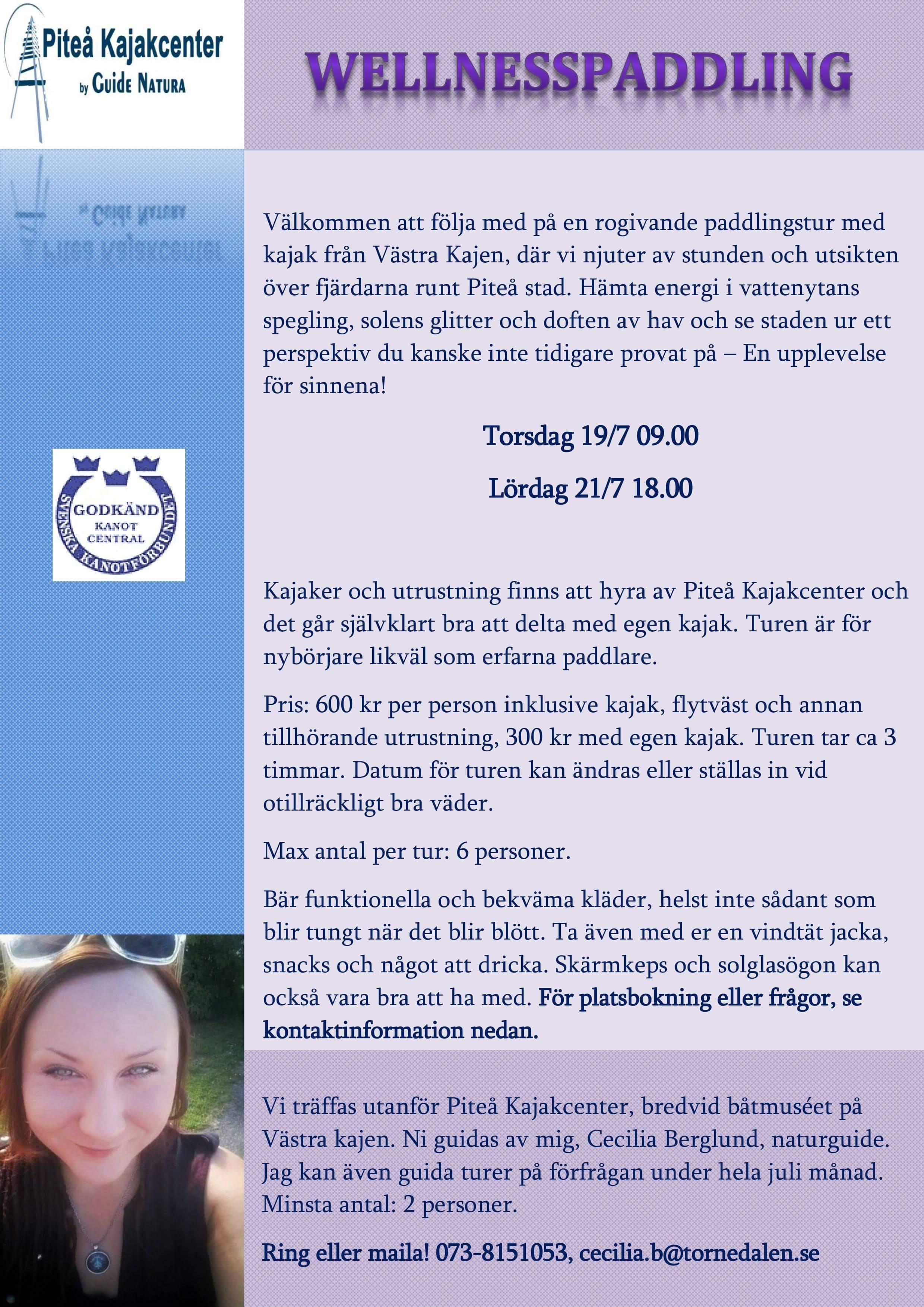 Wellnesspaddling med Cecilia- Guide Natura